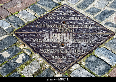 Stanton and Staveley Manhole Cover - Stock Photo
