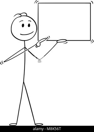 Cartoon of Man or Businessman Holding Empty Sign and Pointing - Stock Photo