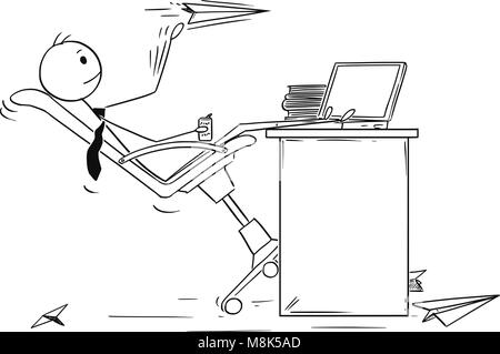 Cartoon of Bored Businessman Throwing Paper Airplanes - Stock Photo