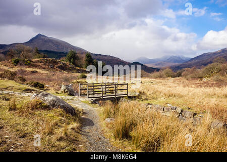 View along path to Moel Siabod from old Drover's road footpath in Snowdonia National Park landscape. Capel Curig, - Stock Photo