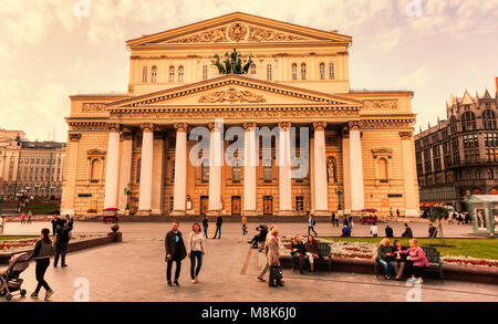 Moscow, Russian Federation - August 27, 2017 : Summer sunset at Bolshoi Theatre - Stock Photo