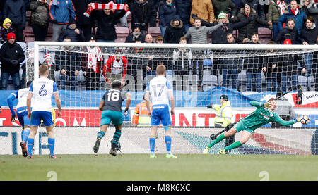 Southampton's Manolo Gabbiadini (not pictured) has a penalty saved by Wigan Athletic goalkeeper Christian Walton - Stock Photo