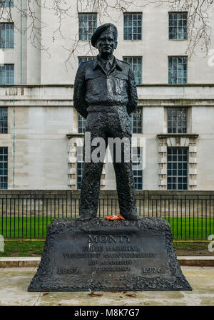 Statue of WWII hero, Field Marshal Viscount Montgomery of Alamein, Statue in Whitehall, London, England, UK - Stock Photo