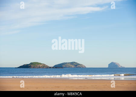 The Lamb, Craigleith and Bass Rock off the coast at North Berwick Scotland - Stock Photo