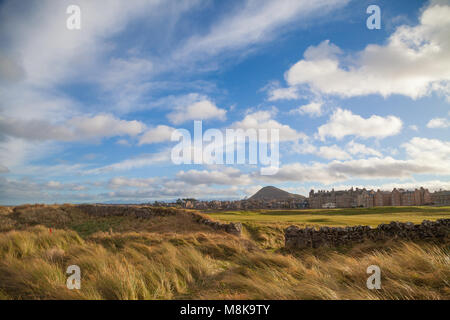 Looking towards North Berwick Law with the link golf course in the foreground. - Stock Photo