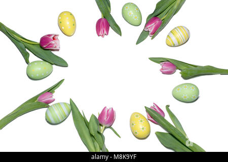 Liliac color tulip and easter eggs arranged in a circle on a white background Easter time - Stock Photo