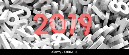 2019 New year. Red 2019  figures on white numbers heap background, banner. 3d illustration - Stock Photo
