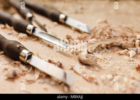 Carpenters tools in workshop on the crafting table. Vintage equipment - Stock Photo