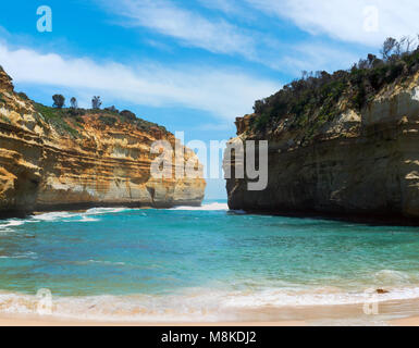 A photo of Loch ard Gorge - one of the famous rocks in Victoria, Australia. - Stock Photo