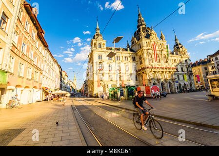 Graz, Styria / Austria - 07 09 2016 : View on Town hall on Hauptplatz city square and Herrengasse main street in - Stock Photo