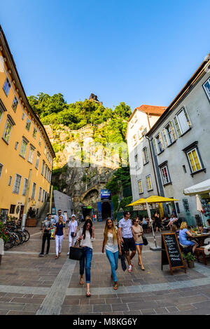 Graz, Styria / Austria - 07 09 2016 : City of Graz street and stairway to Clock tower Uhrturm view, Schlossberg - Stock Photo