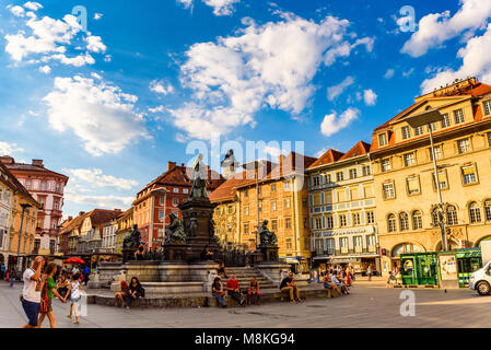 Graz, Styria / Austria - 07 09 2016 : View on Hauptplatz city square and fountain in the city center, summer sun - Stock Photo