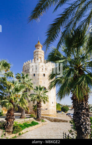 Seville, Andalusia, Spain : 13th century Torre del Oro (Tower of Gold) watchtower  erected by the Almohad Caliphate - Stock Photo