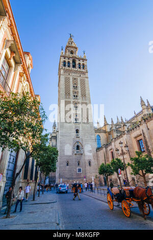 Seville, Andalusia, Spain : Unesco listed Giralda bell tower as seen from Placentines street in Santa Cruz district. - Stock Photo