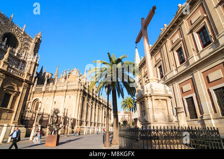 Seville, Andalusia, Spain : Unesco listed Cathedral of Seville, the largest Gothic structure in the world and General - Stock Photo