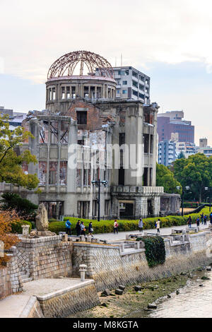 Japan, Hiroshima. Hiroshima Peace Memorial, Genbaku Dome, the A-bomb dome, ruins of the former Prefextural Industrial - Stock Photo
