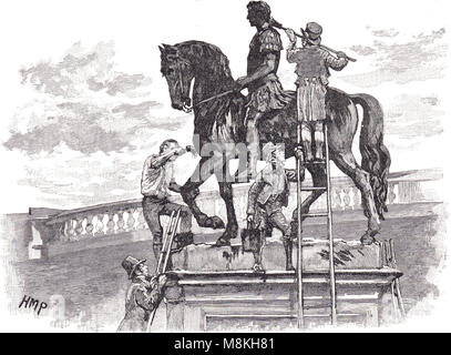 The equestrian statue of king William III, painted black by Irish republicans, Dublin, Ireland, November 1805, - Stock Photo