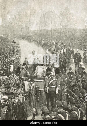 Funeral of Queen Victoria, 2 February 1901.  The procession passing through Hyde Park, London, England - Stock Photo