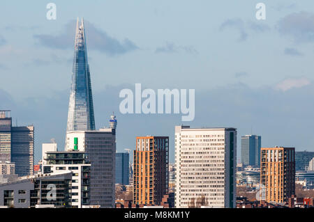The Shard, towering over south London, seen from Greenwich Park. - Stock Photo