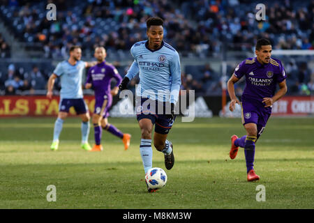 NYCFC vs Orlando City SC action at Yankee Stadium on 17th March 2018. NYCFC won 2-0. Saad Abdul-Salaam (13) dribbles - Stock Photo