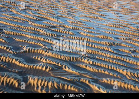 Patterns left by the ebbing tide, near Jenny Brown's Point, Morecambe Bay, northwest england UK - Stock Photo