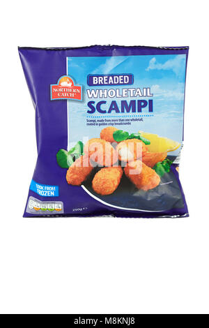 Frozen Northern Catch Breaded Wholetail Scampi on white background - Stock Photo