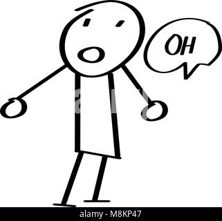 Stick Figure saying oh - Stock Photo