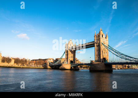 Tower Bridge is a combined bascule and suspension bridge in London built between 1886 and 1894. The bridge crosses - Stock Photo