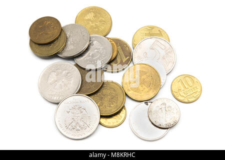 Various Russian Ruble coins isolated on white background - Stock Photo
