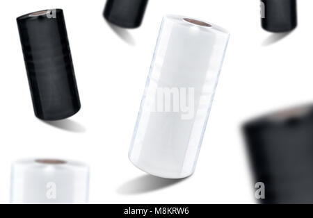 White and black stretch film foil at white background, isolated - Stock Photo