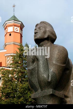 Adam Mickiewicz Monument near Church of St. Francis in Vilnius - Stock Photo