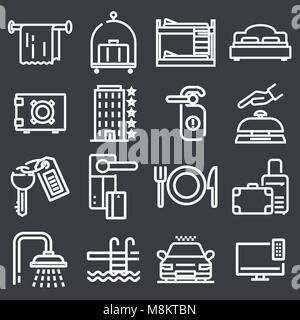 Outline web icon set - Hotel services - Stock Photo