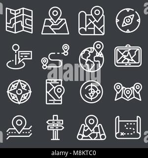 Map icons on gray background. GPS and Navigation. - Stock Photo