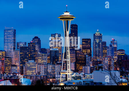 The Space Needle Seattle at night from Kerry Park , The Space Needle constructed for The Worlds Fair in 1962 is - Stock Photo