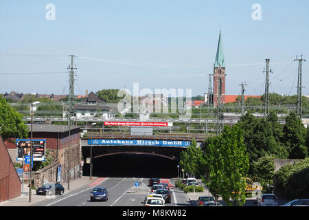 Look at tunnel, railway equipment and Protestant Pauluskirche in the Dortmund north town, Dortmund, Ruhr area, North - Stock Photo