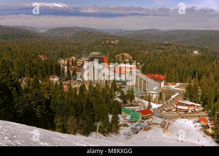 Borovets ski resort with the Rila Hotel near Samokow, Targovishte, Bulgaria. - Stock Photo