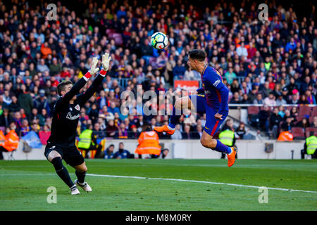 March 18, 2018 - Barcelona, Barcelona, Spain -   (14) Coutinho with a serious goal occasion during the La Liga match - Stock Photo