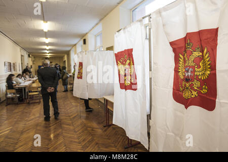 Moscow, Moscow, Russia. 18th Mar, 2018. Polling station during the voting day of the presidential russian elections - Stock Photo
