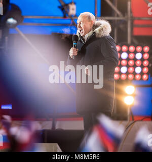 Moscow, Russia. 18th Mar, 2018. Incumbent Russian President Vladimir Putin speaks at an occasion in Moscow, Russia, - Stock Photo