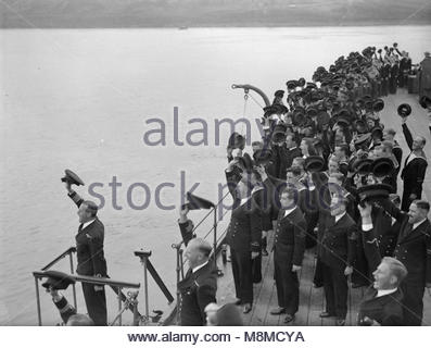 The Royal Navy during the Second World War The Commanding Officer leading the cheers for the HM King George VI, - Stock Photo
