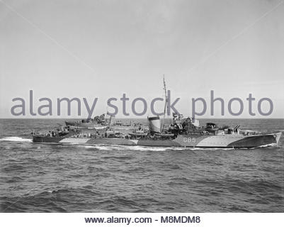 The Royal Navy during the Second World War Two British destroyers passing each other during flotilla exercises. - Stock Photo