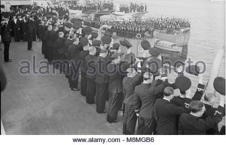 Hm King George Vi Visiting Men and Ships of the Home Fleet at Scapa Flow, August 1943 Officers and men of HMS TYNE, - Stock Photo
