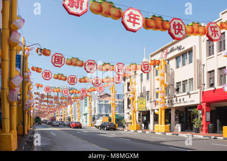 Chinese New Year decorations on South Bridge Road, Chinatown, Outram District, Central Area, Singapore Island (Pulau - Stock Photo
