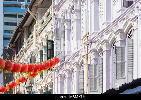 Shophouses, Pagoda Street, Chinatown, Outram District, Central Area, Singapore Island (Pulau Ujong), Singapore - Stock Photo