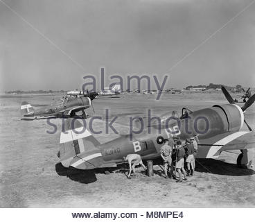 Royal Air Force Operations in the Far East, 1941-1945. Two Republic Thunderbolt Mark IIs (KJ140 'RS-B' and HD265 - Stock Photo