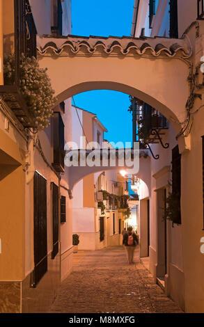Cuesta de San Juan street at dusk. Neighborhood of El Cerro. Cabra. Cordoba province. Region of Andalusia. Spain. - Stock Photo