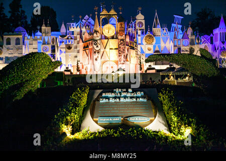 ANAHEIM, CALIFORNIA - September 20th, 2015 - Disneyland's It's a Small World at night - Stock Photo