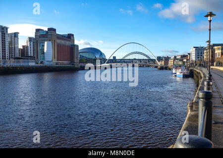 Dec 22, 2017 - View down the River Tyne from the Quayside, Newcastle upon Tyne, England. UK - Stock Photo