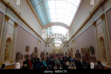 Dec 31, 2017 - The Grande Galerie, Louvre museum, Paris, France - Stock Photo