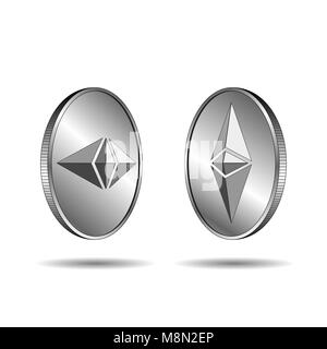 Ethereum coins isolated on white background. 3D isometric physical coins. Trendy vector illustration. - Stock Photo